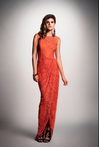 Dalia MacPhee coral lace gown